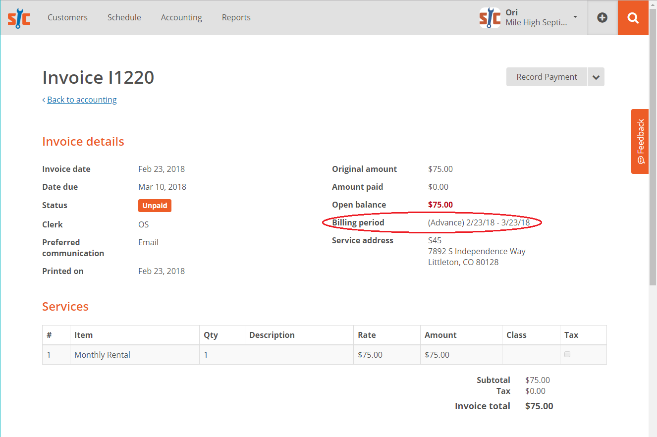 Billing Interval on Recurring Invoices | ServiceCore